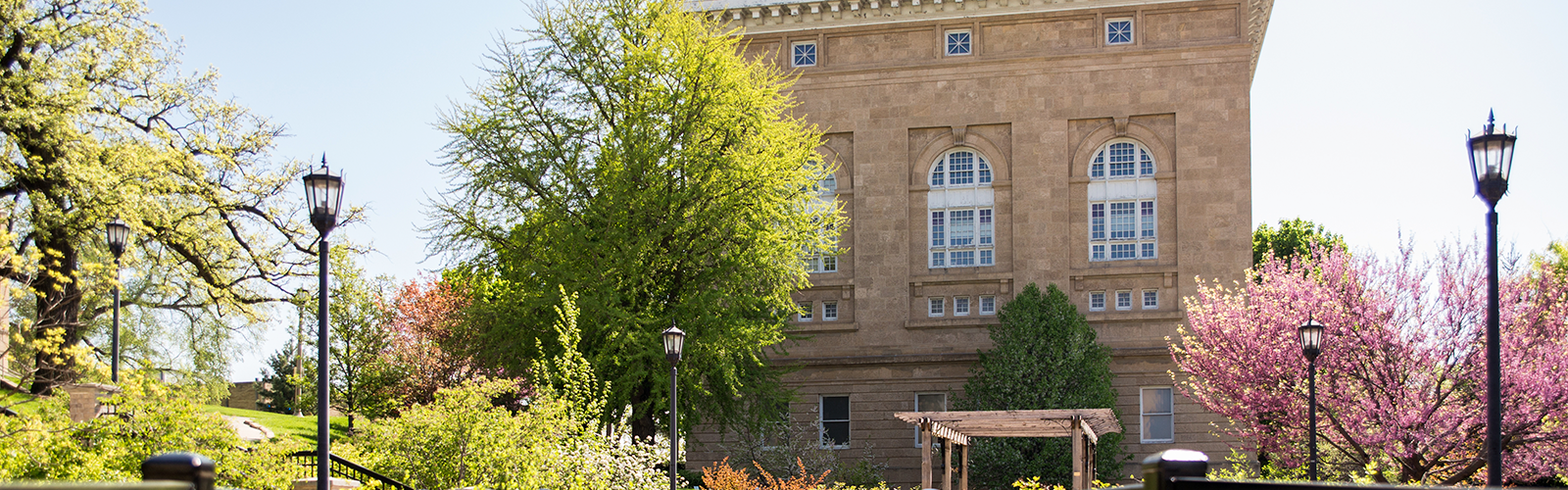 Photograph of west side of Lathrop Hall in the spring